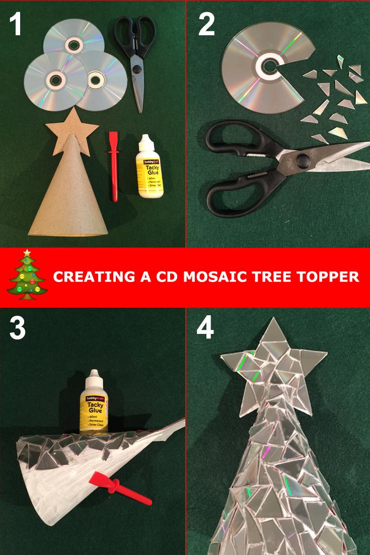 cd mosaic tree topper